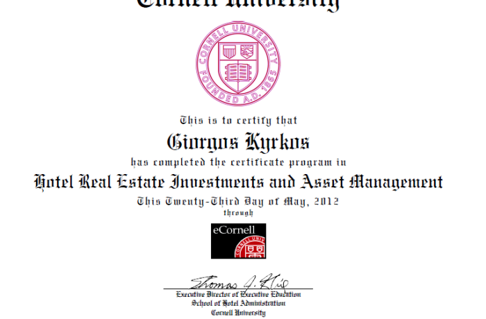 Cornell University Certificate of Hotel RealEstate and Asset Management