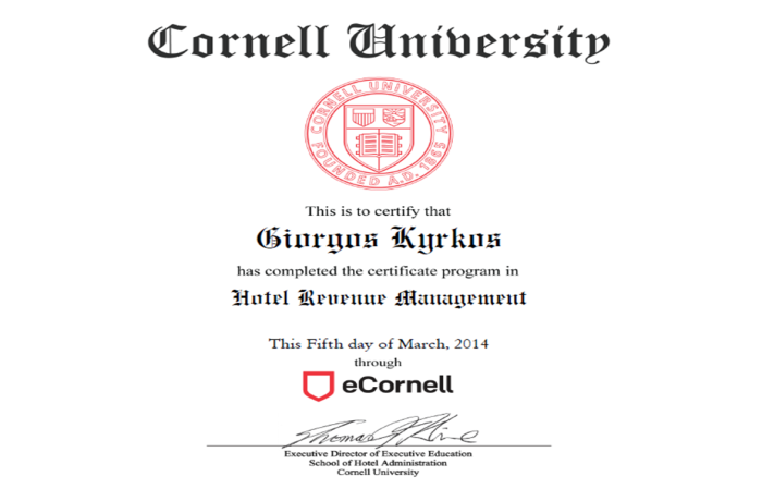 Hotel Revenue Management certificate